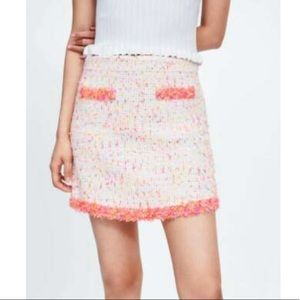 ZARA Mini Skirt with Frayed Trim
